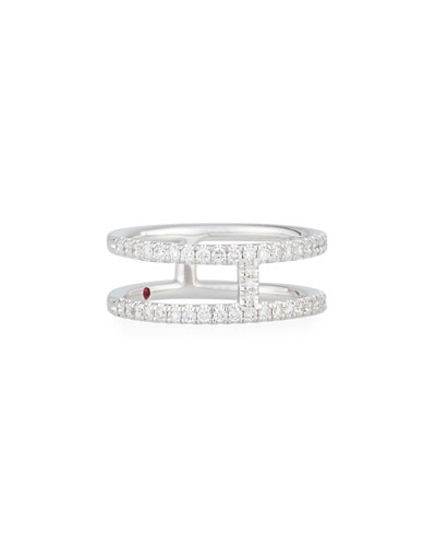 Floating Diamond Two-Bar Ring in 18K White Gold, Size 6.5