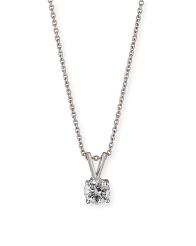 Diamond Solitaire Pendant Necklace in 18K White Gold