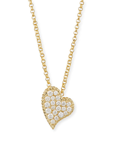 18k Pave Diamond Slanted Heart Necklace