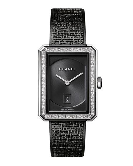 CHANEL BOY&middotFRIEND Black Tweed Watch with Diamonds
