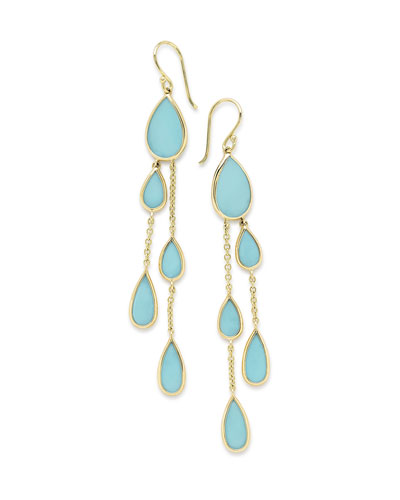 18K Polished Rock Candy Multi-Pear 2-Chain Drop Earrings in Turquoise