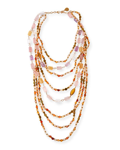 Beaded Quartz, Amethyst & Citrine Multi-Strand Necklace