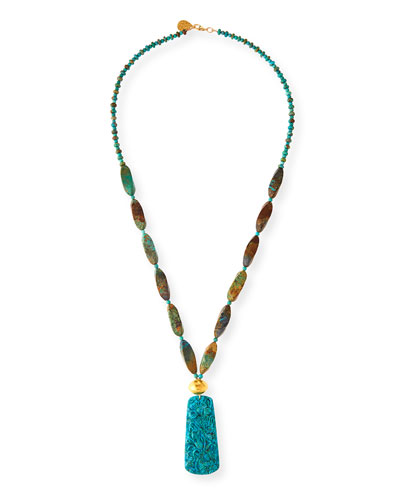 Long Carved Turquoise Pendant Necklace