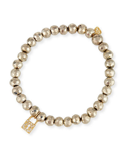 6mm Beaded Pyrite Bracelet with Diamond Lock Charm