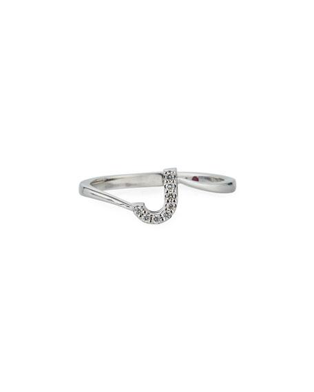 Roberto Coin Diamond Letter Ring in 18K White Gold