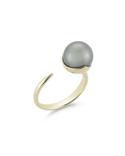 10mm Black Pearl Fluid Ring, Size 6