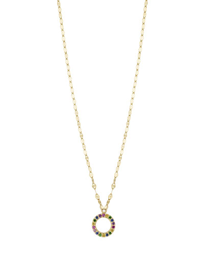 Girls' Mini Open Circle Rainbow Sapphire Pendant Necklace