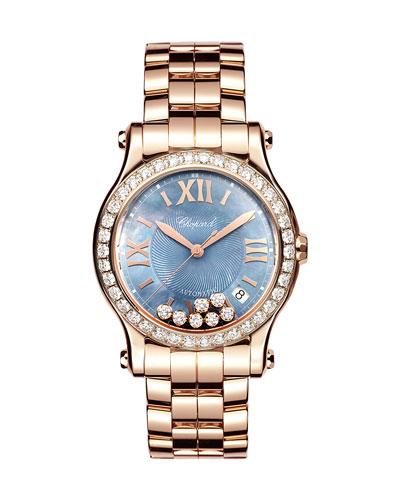 36mm Happy Sport 18k Rose Gold Bracelet Watch with Diamonds