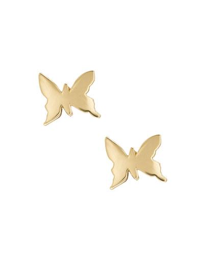 Girls' 14K Gold Butterfly Stud Earrings