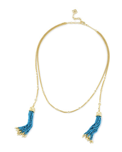 Monique Beaded Tassel Necklace, Golden/Blue