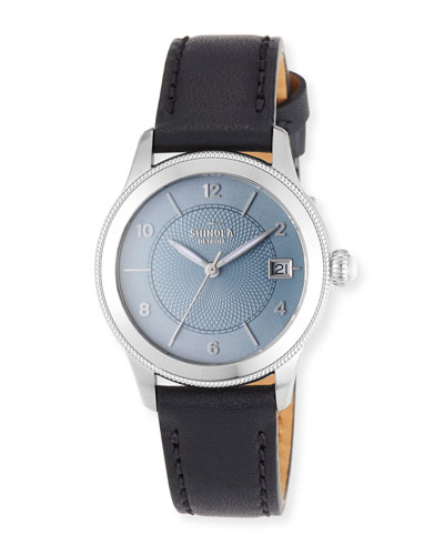 Gail 36mm Slate Blue Watch with Black Leather Strap