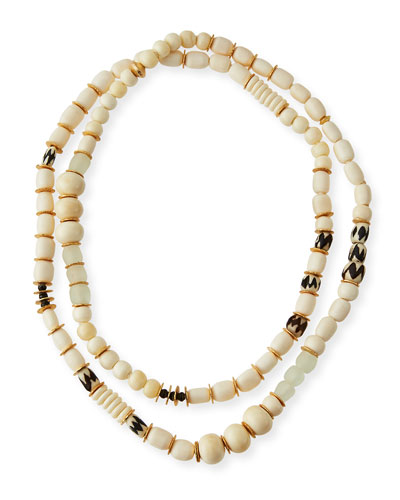 Long Bone & Sea Glass Beaded Necklace