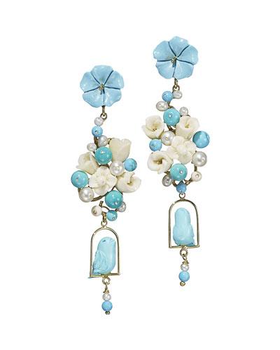 Turquoise & Pearl Nester Earrings