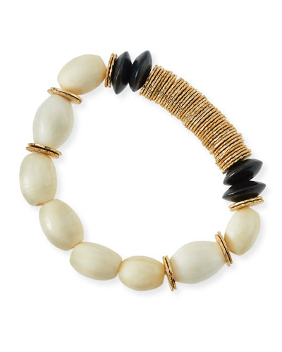Beaded Bone & Wood Bracelet