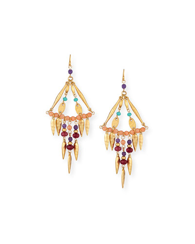 Multicolored Beaded Statement Dangle Earrings