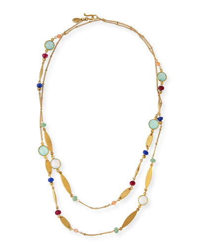 Long Multicolored Beaded Station Necklace