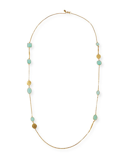 Long Semiprecious Stone Station Necklace