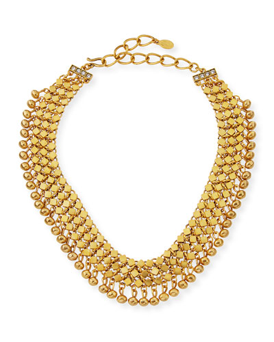 Golden Mesh Statement Choker Necklace