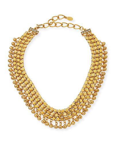 Golden Mesh Statement Choker Necklace