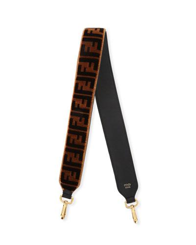 Strap You Ff Tapestry Velvet Shoulder Strap For Handbag, Brown Pattern