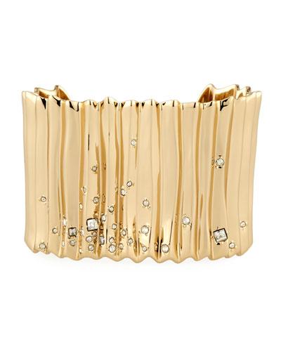 Pleated Crystal Stud Cuff Bracelet