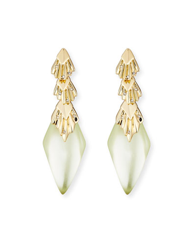 Pleated Crystal-Studded Drop Earrings