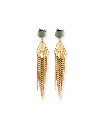 Crystal Studded Dangling Tassel Earrings, Light Moss