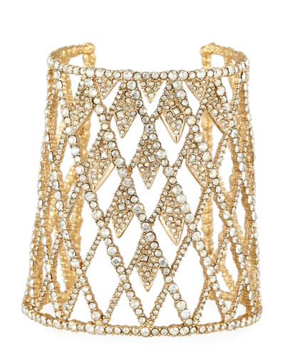 Crystal Lattice Cuff Bracelet, Golden
