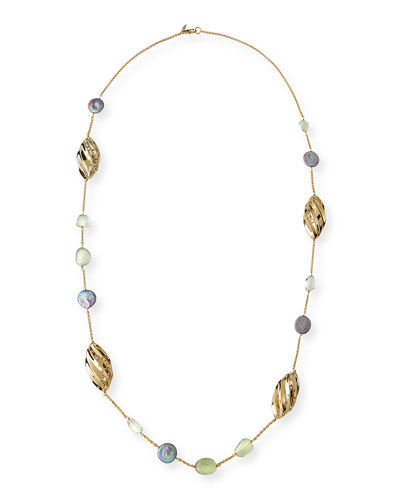 Peacock Pearly Station Necklace, 42