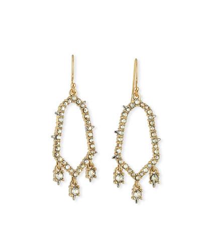 Crystal-Encrusted Open Drop Earrings