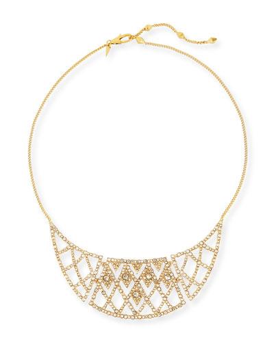 Crystal-Encrusted Bib Necklace, Golden