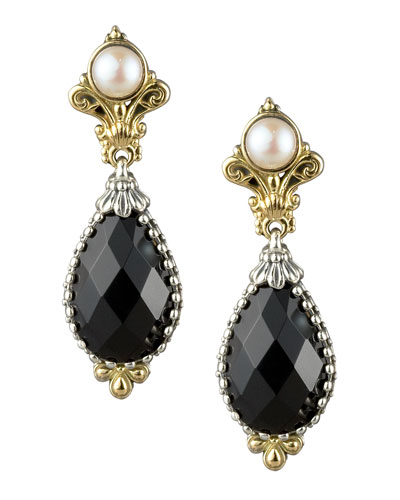 Onyx & Pearl Drop Earrings