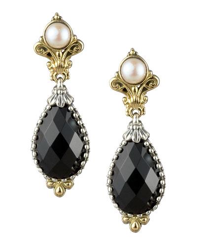 Onyx & Pearl Drop Earrings