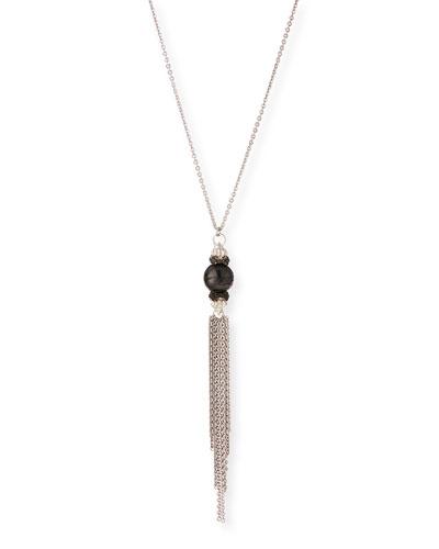 New World Midnight Tahitian Pearl Tassel Pendant Necklace
