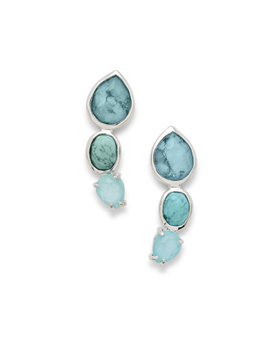 925 Rock Candy 3-Stone Earrings in Turquoise
