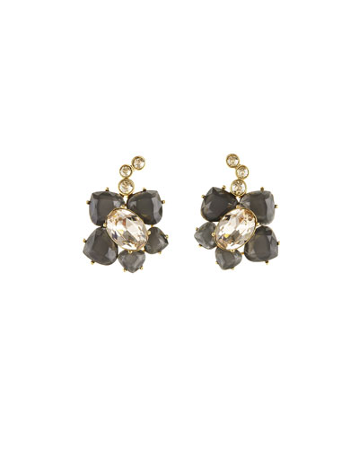 Faceted Resin Flower Pierced Earrings