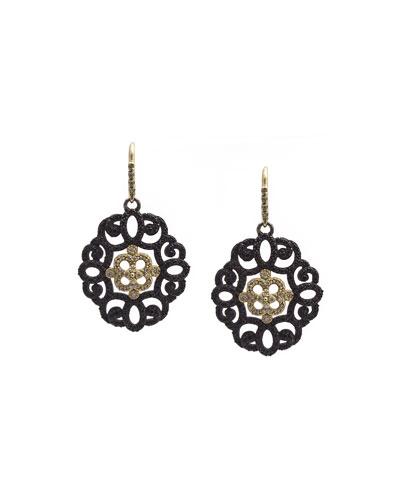 Old World Filigree Earrings with Black Sapphires & Diamonds