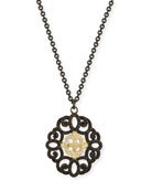 Old World Filigree Pendant Necklace with Diamonds & Black Sapphires