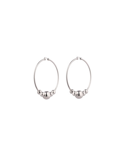 Large Sphere Hoop Drop Earrings