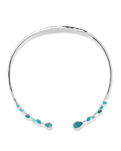 925 Rock Candy Double Mixed Stone Stations Hinged Collar Necklace in ...