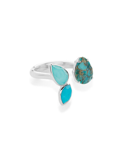 925 Rock Candy® Open Ring with 3-Stone in Turquoise