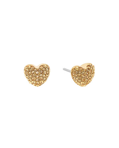 Pavé Hearts Crystal Stud Earrings, Yellow