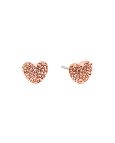 Pavé Hearts Crystal Stud Earrings, Rose Golden