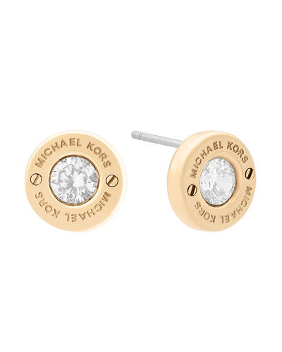 Haute Hardware Crystal Stud Earrings, Yellow