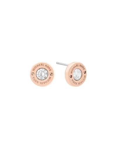 Haute Hardware Crystal Stud Earrings, Rose Golden