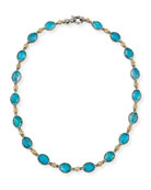 Oval Chrysocolla Doublet Station Necklace, 16""
