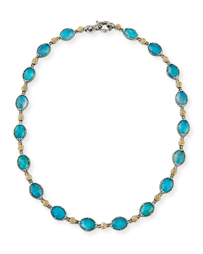 Oval Chrysocolla Doublet Station Necklace, 16