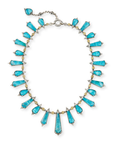 Chrysocolla Doublet Staggered Station Necklace, 16