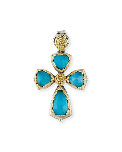 Chrysocolla & Crystal Quartz Doublet Cross Pendant