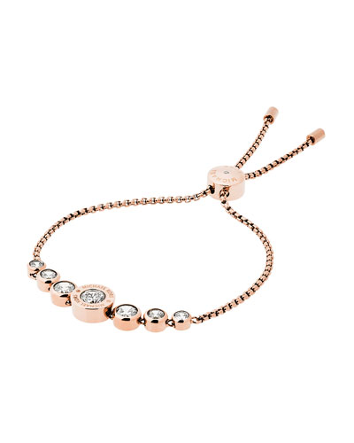 Logo Rose-Golden Crystal Slider Bracelet